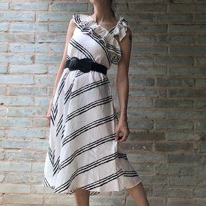 Vintage 80s Dress Contempo White Striped Sundress